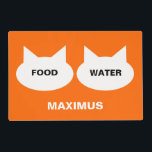 """Modern Cat Silhouette Personalized Pet Placemat<br><div class=""""desc"""">Give your kitty his or her own personalized placemat and keep food and spills off the floor. Would make a great gift for your cat. To change the fonts or to select a different background color just,  click on the Customize It button.</div>"""