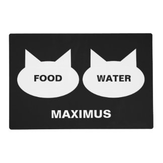 Modern Cat Silhouette Personalized Pet Placemat Laminated Place Mat