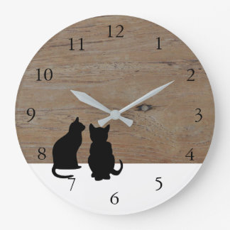 Modern cat silhouettes, pets on wood white large clock