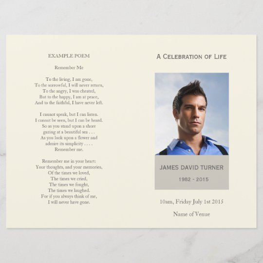 Modern Celebration Of Life Funeral Program