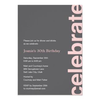 Modern Celebration Party Invitation - Pink