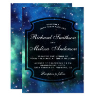 Modern Celestial Space Galaxy Wedding Invitation