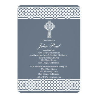 Modern Celtic Cross Communion Invitation for Boys