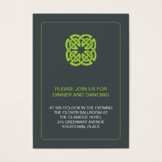 Modern Celtic Wedding Reception Business Card