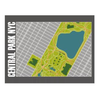 Modern Central Park Map New York City Postcard
