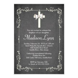 Modern Chalkboard Baptism Christening Cross Card