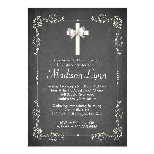 Modern Chalkboard Baptism Christening Cross Personalized Invites