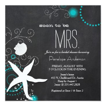 Beach Themed Modern Chalkboard Beach Wedding Bridal Shower Card