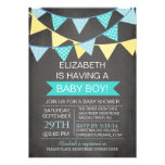 Modern Chalkboard Bunting Boys Baby Shower Personalized Announcement