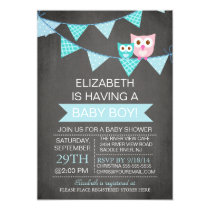 Modern Chalkboard Bunting Owl Boy Baby Shower Card
