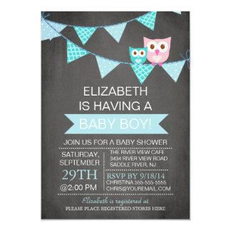 Modern Chalkboard Bunting Owl Boy Baby Shower Personalized Invite