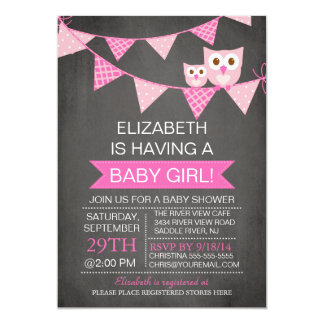 Modern Chalkboard Bunting Owl GIRL Baby Shower Card