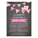 Modern Chalkboard Bunting Owl GIRL Baby Shower Personalized Announcement
