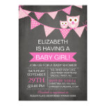 Modern Chalkboard Bunting Owl GIRL Baby Shower 5x7 Paper Invitation Card