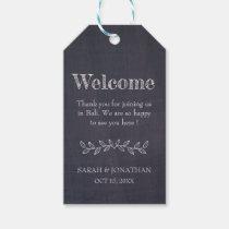 Modern Chalkboard Destination Wedding Welcome Gift Tags