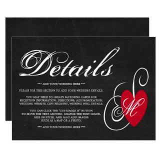 Modern Chalkboard Fancy Heart Wedding Detail Card