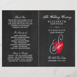 modern chalkboard fancy heart wedding program