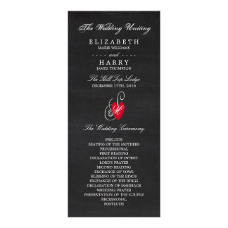 Modern Chalkboard Fancy Heart Wedding Program