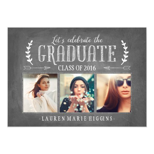 Modern Chalkboard Graduation Party Photo Collage Card
