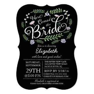 Modern Chalkboard Here Comes The Bride Floral Card
