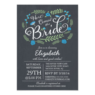 Modern Chalkboard Here Comes The Bride Floral Personalized Invitations