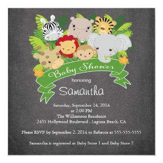 Modern Chalkboard Jungle Safari Animal Baby Shower Card