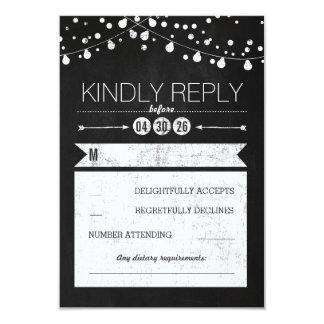 Modern Chalkboard Lights Wedding RSVP Card