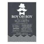 Modern Chalkboard Little Man Mustache Baby Shower Card