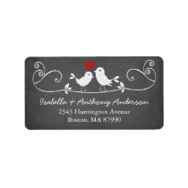 Modern Chalkboard Love Birds Return Address Label