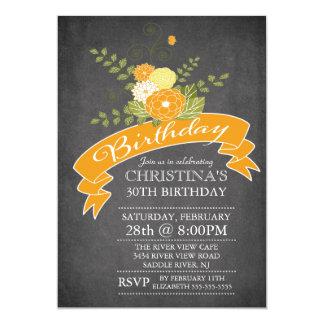 Modern Chalkboard Orange Flowers Birthday Party 5x7 Paper Invitation Card