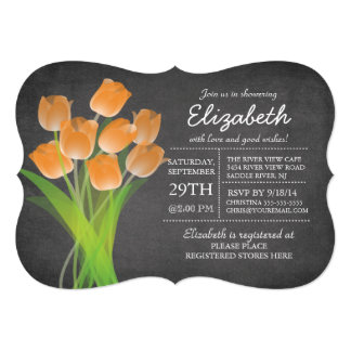 Modern Chalkboard Orange Tulip Bridal Shower Card