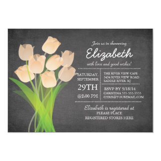 Modern Chalkboard Peach Tulip Bridal Shower Card
