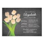Modern Chalkboard Peach Tulip Bridal Shower 5x7 Paper Invitation Card