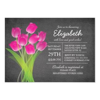 Modern Chalkboard Pink Tulip Bridal Shower Card