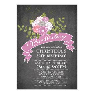 Modern Chalkboard Purple Flowers Birthday Party Card