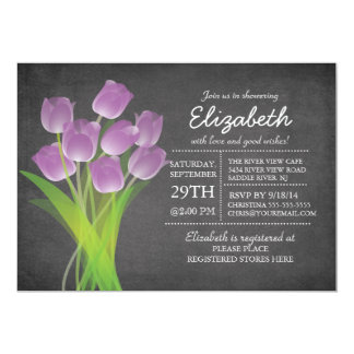 "Modern Chalkboard Purple Tulip Bridal Shower 5"" X 7"" Invitation Card"