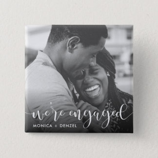 Modern Chalkboard & Script Engagement Party Photo Pinback Button