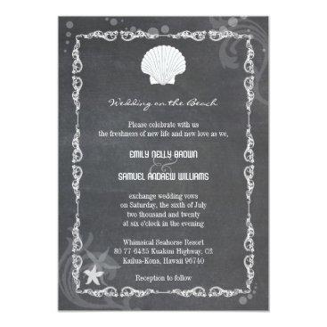 Beach Themed Modern Chalkboard Sea Shell Beach Wedding Card