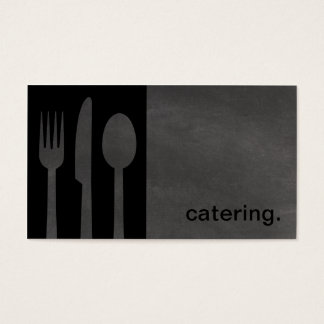 Modern Chalkboard Silhouette Catering black/grey Business Card