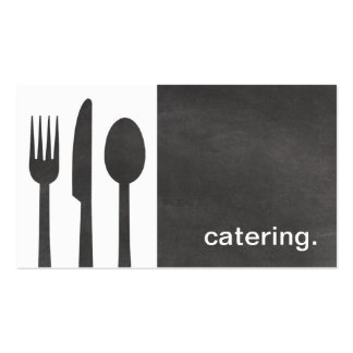 Modern Chalkboard Silhouette Catering white/grey Business Card