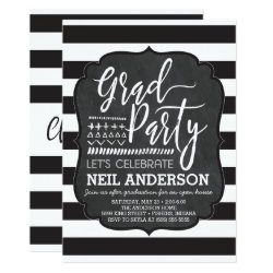 Modern Chalkboard Sketched Grad Party Invitations