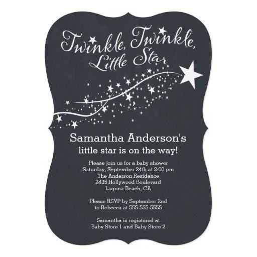Modern Chalkboard Star Baby Shower Invitation