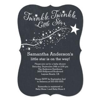 "Modern Chalkboard Star Baby Shower Invitation 5"" X 7"" Invitation Card"
