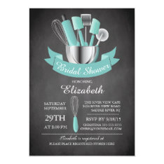 Modern Chalkboard Stock The Kitchen Bridal Shower Card at Zazzle