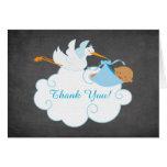 Modern Chalkboard Stork Baby Shower Thank You Stationery Note Card