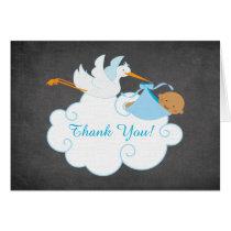 Modern Chalkboard Stork Baby Shower Thank You Card