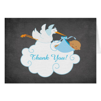 Modern Chalkboard Stork Baby Shower Thank You Stationery Note Card