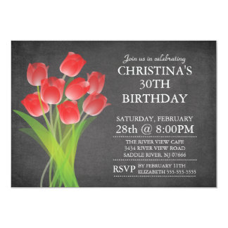 Modern Chalkboard Typographic Tulip Birthday Party Card
