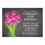 Modern Chalkboard Typographic Tulip Birthday Party 5x7 Paper Invitation Card