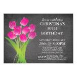 Modern Chalkboard Typographic Tulip Birthday Party 5x7 Paper Invitation Card